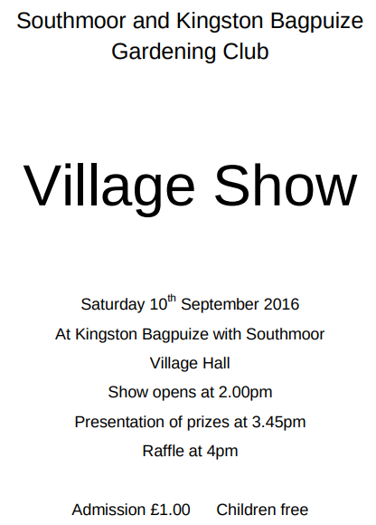 Village Show 2016 - Saturday 10th September