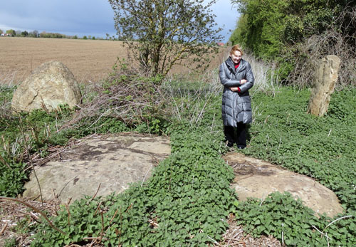 The stones at Southmoor Henge - Clare Belk indicates the size of the stones